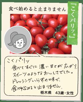 【つやぷるん®】つやぷるん®はまるでトマトとは思えないほど甘くトマトの苦手な子供でも食べられる本当に不思議なトマトでした。ぜひたくさんの人たちに食べてもらいたいと思いました。栃木県43歳女性