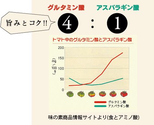 グルタミン酸:アスパラギン酸=4:1 旨みとコク!トマト中のグルタミン酸とアスパラギン酸のグラフ